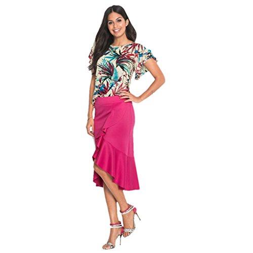 Frau Rock Uniform JYJM Unregelmäßige, hoch geschnittene Röcke mit hohem Bund Frauen unregelmäßige Lotus Leaf Rock Damen beiläufige Knie Länge Büroarbeit Rock (M, HeißRosa) (Knie-länge Waffel)