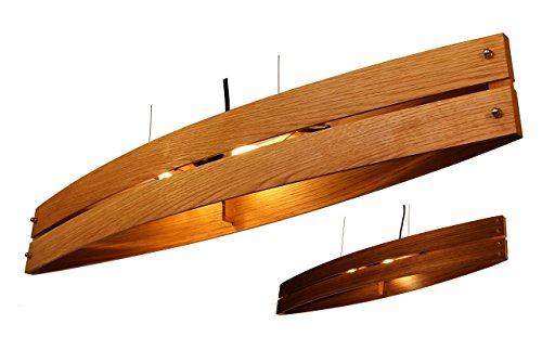 Hängeleuchte Holz CANOT - Pendelleuchte aus Eiche/Nussholz/Mahagoni - Textilkabel - made in Germany - LED Designer Deckenleuchte Massivholz 2xE14 Esszimmer, Wohnzimmer, Flur handgemachte Hängelampe