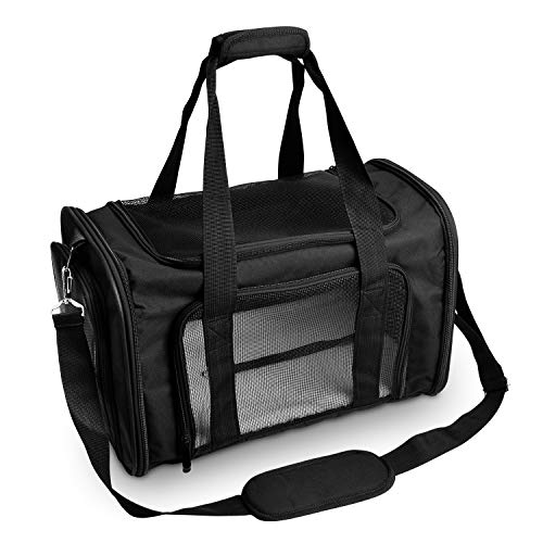 NICREW Hundebox Transportbox Auto, Transporttasche für Katzen Hunde, Haustier Reise Handtasche Faltbar aus Oxford für Flugzeuge Zug Auto 45 x 28.5 x 27 cm - Schwarz