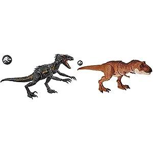 Jurassic World Dinosaurio de Juguete Indoraptor Luces y Sonidos  (Mattel FLY53) + Superataque del Tyrannosaurus Rex, Dinosaurio de Juguete (Mattel FMY70)