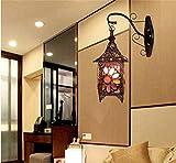 LMPZZ Simple Pearls Lounge Schlafzimmer Wandleuchte Treppenlampe , Wandleuchte Kreativ Einfache und Stilvolle europäische Retro Burg,A
