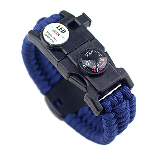 21 in 1 Survival Armband, 7 Core Paracord Notfall Sport Armband Ausrüstung Wasserdichter Kompass, SOS-LED-Licht, Thermometer, Rettungspfeife, Feuerstarter Multi-Tool Wilderness Adventure Zubehör