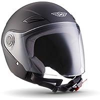 MOTO U52 Matt Black · Scooter-Helm Mofa Jet-Helm Bobber Vintage Chopper Biker Pilot Vespa-Helm Cruiser Roller-Helm Motorrad-Helm Helmet Retro · ECE zertifiziert · mit Visier · inkl. Stofftragetasche · Schwarz · L (59-60cm)