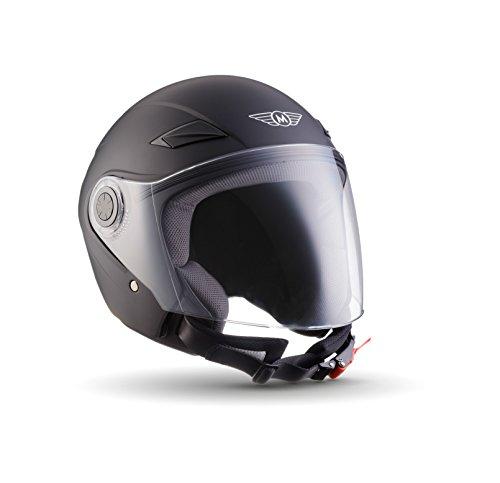 MOTO U52 Matt Black · Cruiser Bobber Roller-Helm Scooter-Helm Mofa Retro Vintage Chopper Vespa-Helm Motorrad-Helm Biker Helmet Jet-Helm Pilot · ECE zertifiziert · mit Visier · inkl. Stofftragetasche · Schwarz · M (57-58cm)