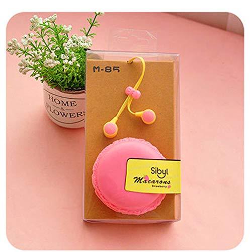 TGSKGZKJDBMD Headsets 2018 Macarons Kopfhörer für Mädchen In Ear Candy Farbe Macarons Kopfhörer für iPhone6s Samsung Xiaomi Huawei MP3 MP4 Player, rosa mit Box