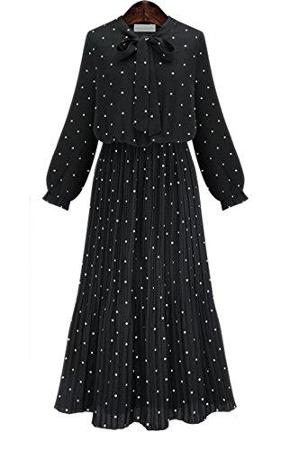 Haroty Robe Longue à Manches Longues en Mousseline a Pois Printemps Automne Estivale Casual Slim Robe bohème Plissée (Noir, XL)