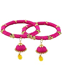 Pass Pass Traditional Silk Thread Bangles For Women And Girls Set Of 2