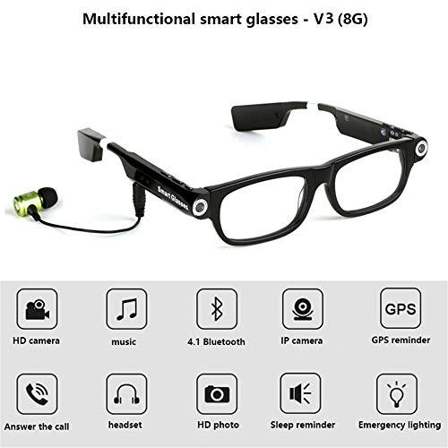 EspecificaciónNombre del producto: gafas con cámara BluetoothFunciones: foto, cámara, auriculares Bluetooth, recordatorio de sueño, iluminación, disco UResolución de video: HD 720P @ 30 fpsPixel de imagen: 1280 * 720Mic: Construir en Mic - 4015Blueto...