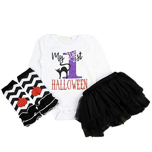 Anywow 3 stücke Säugling Baby Mädchen Meine Ersten Halloween Langen Ärmeln Strampler Tüll Tutu Rock Beinwärmer Kleidung Set (Erstes Mein Halloween Tutu-outfit)