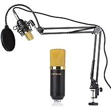 Crenova MC-05micrófono Set, Kit de micrófono condensador profesional estudio grabación Broadcast Micrófono de condensador + tijeras de suspensión Soporte + montaje de choque + micrófono filtro + pelota de espuma Cap