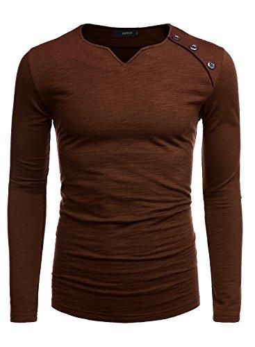 HEMOON Herren V-Ausschnit Sweatshirt Langarmshirt T-shirt Einfarbig Kaffee M Heavyweight Long Sleeve Sweatshirt