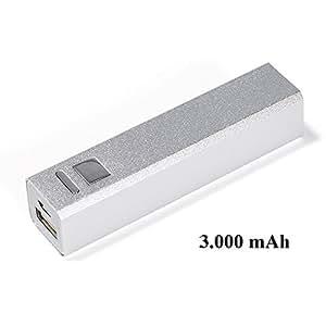 Eckige Powerbank aus Metall silber 3000 mAh