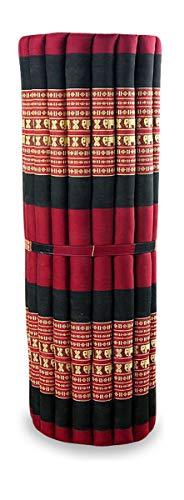 livasia Kapok Liegematte der Marke Asia Wohnstudio, 200cm x 110cm x 4,5cm; Rollmatte BZW. Yogamatte, Thaimatte, Thaikissen als asiatische Rollmatratze (rot/Elefanten)