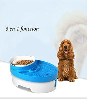 Fontaine à eau pour chat chien 3L Filtre Charbon Adoucisseur,Distributeur eau et croquettes automatique (3 en 1 fonction)