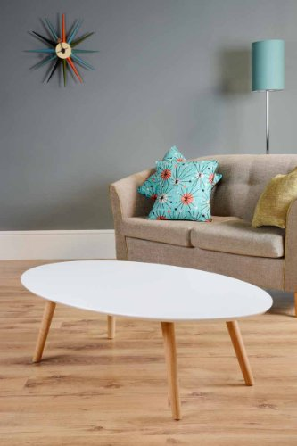 MY-Furniture - Tretton retro solid oak or lacquered white coffee table (Lacquered white)