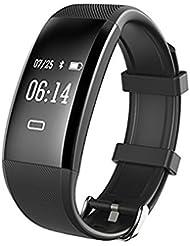 Monitores de actividad, Fitness Tracker, Wuloo pulsera monitor de ritmo cardíaco, presión arterial - Bluetooth Podómetros con el contador de pasos Seguimiento de la actividad / Calorie Tracker / Sleep / Alerta de llamada para iOS Android IP67 impermeable