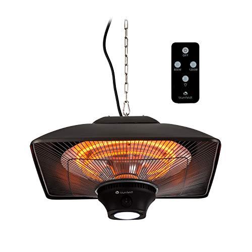 blumfeldt Heat Square - Infrarot-Heizstrahler mit Fernbedienung, Terrassen-Heizstrahler, 800/1200/2000 Watt, IR ComfortHeat Technologie, LED, schwarz