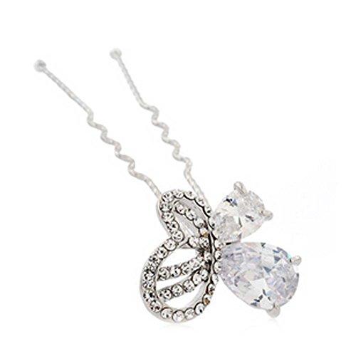 Alliage de mariée Noble motif diamant papillon épingle ornements de cheveux