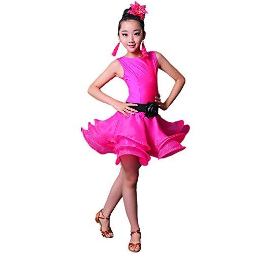 BOZEVON Kinder Mädchen Moderne Tanzkleidung Ärmelloses Latein Tanzkleid Leistung Performance Wettbewerb Kostüm, Rose Rot/160