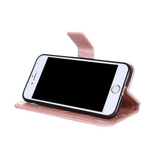 Cover iphone 8 / 7, Alfort 2 in 1 Custodia Protettiva in Pelle Verniciata Goffrata Farfalle e Fioria Alta qualità Cuoio Flip Stand Case per la Custodia iphone 8 / 7 Ci sono Funzioni di Supporto e Port Oro rosa