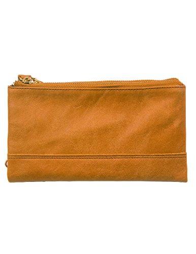 Kronen Soehne Herren Echtes Leder Lang Bifold Brieftasche Organizer Scheckheft Kartenetui Doppelreißverschluss Handtasche KWA010 (Leder-scheckheft-organizer)
