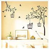 Newberli Grandi Uccelli Che Volano Di Nuovo Al Birdcage Albero Flora Romantico Classico Wall Sticker Home Decor Tv Divano Sfondo Poster Decorativo