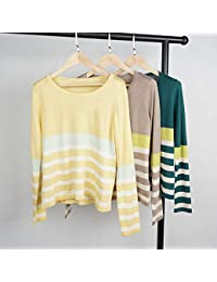 SGHTRHXUT suéter Punto Bottoming Camisa Rayas Prendas de Punto Que Toca Fondo Camisa Original Comercio Exterior Mangas largas Pullover, marrón, código Uniforme