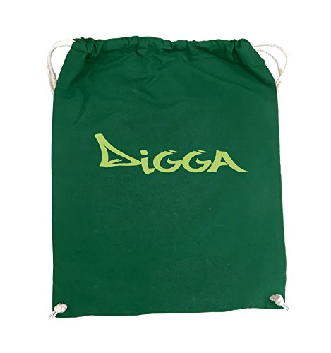 Comedy Bags - DIGGA im GRAFFITI Style - Turnbeutel - 37x46cm - Farbe: Schwarz / Pink Grün / Grün