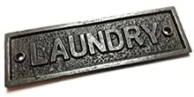Cast Iron LAUNDRY Door Sign - 152mm x 45mm c/w fixing screws.