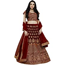 Ethvilla Women's Pure Silk Embroidered Semi stitched Lehenga choli with Dupatta