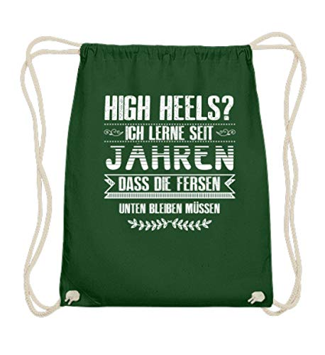 Pferde Shirt · Geschenk für Reitsport Fans · Pferd Motiv: Die Verse bleiben unten - Baumwoll Gymsac -37cm-46cm-Dunkelgrün