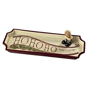 Grasslands Road Deck the Halls 2-Piece Ho Ho Ho Hors D'oeuvres Santa Boot Toothpick Holder and 15-1/2-Inch Holly Leaf Appetizer Tray Set