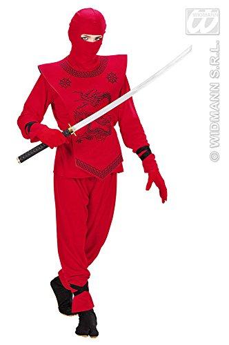 Red Ninja Dragon Kostüm - Tolles Schwertkämpfer Kostüm für Kinder Gr. 128