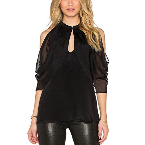 HANMAX Damen Chffonshirt Edle Volant Blusenshirt Tunika Businessmode Hemd T-Shirt Partyoutfits Oberteil Tops