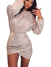 8474402453bf HULKY Vendita di Liquidazione Donne Sexy Paillettes Dress-Signore Girocollo  Manica Lunga Bodycon Club Cocktail Mini…