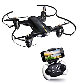 JOYGEEK Drone Pieghevole Fotocamera HD WiFi FPV RC Drone Telecamera 2.4GHz 4CH 6-Axis Gyro Quadcopter Grandangolare Selfie modalità di Attesa LED modalità Adulti e Principianti Helicopter