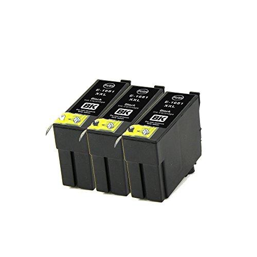 LCL(TM) 16XXL T1681 Lot de 3 Noir Cartouches d'encre Compatible pour Epson WorkForce WF-2660DWF