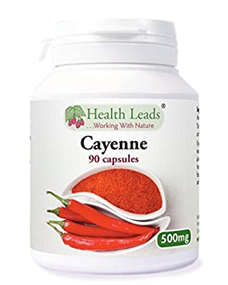 Cayenne Pepper 500mg x 90 capsules (100% Additive Free Supplement) by Health Leads UK