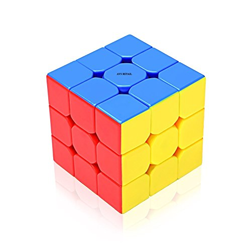 AVS High Stability Stickerless - 3X3X3 Speed Cube with Adjustable Tightness, Multi Color