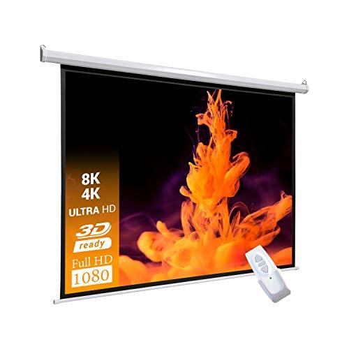 celexon Basic elektrische Beamer-Motor-Leinwand optimal für Heimkino, Präsentation, Schule und Business inkl. Fernbedienung - 240 x 240cm - 1:1