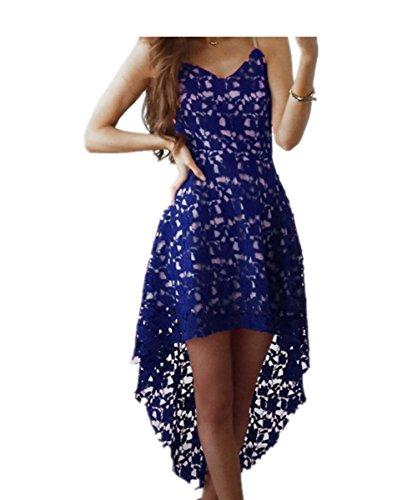EMIN Damen Partykleid Kleid Spitze Knielang Festlich V-Ausschnitt Elegant  Kurzarm Asymmetrische Kleider Partykleid Saum 3763410d60