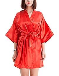 YAOMEI Mujer Vestido Kimono Satén, Camisón para Mujer, Sedoso Robe Albornoz Dama de Honor