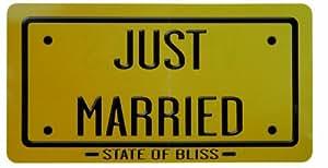 Pancarte Just married recto-verso carton 22 x 42 cm