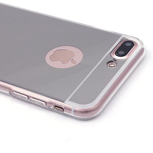 iProtect Apple iPhone 7 Plus, iPhone 8 Plus biegsame TPU Soft Case Hülle Glitzer Pailletten Design in Rosegold Spiegel Softcase silber iPh7+