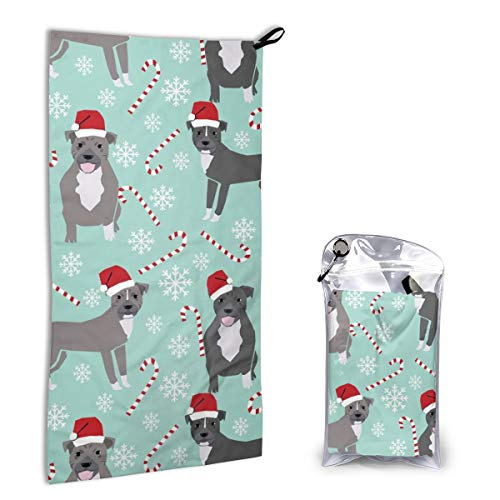 Quick Dry Microfiber Towel Pitbull Peppermint Stick Winter Candy Cane Ice Blue for Beach Travel Swim Camping 15.7