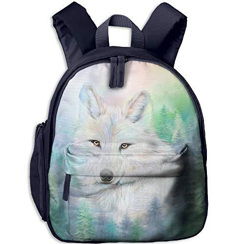 Kindergarten Boys Girls Backpack Wolf Spirit of Illumination School Bag