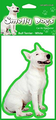 Bull Terrier Hund (White) Air Freshener Autoluft deoderiser (4 St. pro Packung). Duftbaum Lufterfrischer wagen Parfüm Air Freshner Fußball. Jeder Freshener einzeln verpackt - Ideal für Auto, Haus, Wohnwagen (Terrier Hund-schüssel)