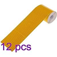 Leorx 12PCS riflettente nastro riflettente adesivi per auto camion–giallo dorato
