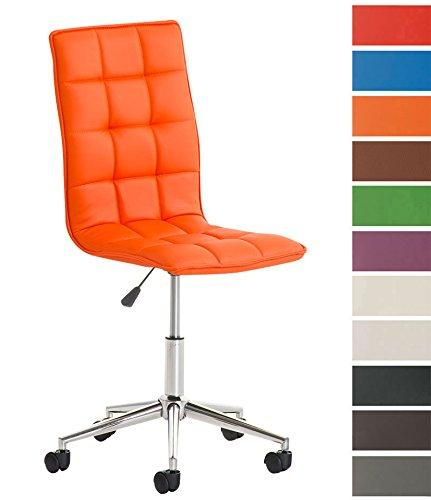 CLP Taburete de Trabajo Peking en Cuero Sintético I Silla de Trabajo con Ruedas I Taburete Bajo Regulable en Altura I Color: Naranja