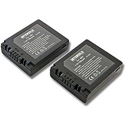 INTENSILO 2x Li-Ion Batterie 700mAh (7.4V) pour photo caméscope caméra vidéo Panasonic Lumix DMC-FZ3, DMC-FZ4, DMC-FZ5 comme DMW-BM7, CGR-S002.